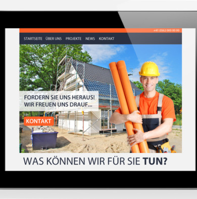 Webdesign in Arbeit für Baufirma
